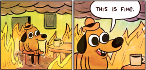 Cartoon of a dog surrounded by fire drinking coffee