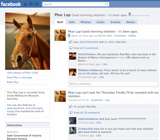 What would Phar Lap do? AKA, what happens when Facebook and museum URIs meet a dead horse?