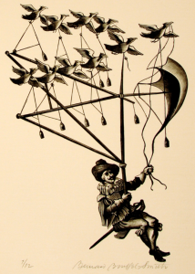 Image of a man in a flying contrapation powered by birds