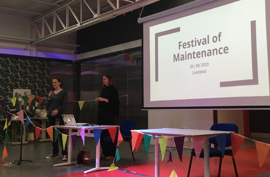 Two of the organisers introducing the Festival of Maintenance event